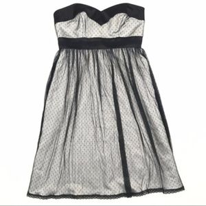 WHBM Black & White Strapless Midi Dress A48